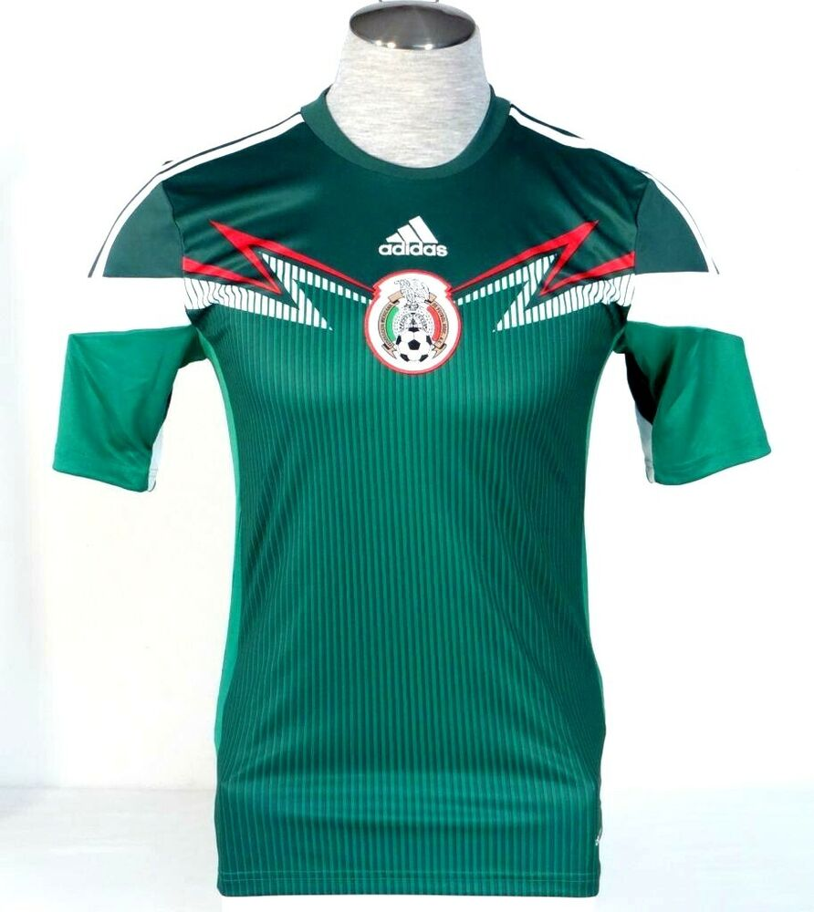 Details about Adidas ClimaCool Mexico 2014 World Cup Green Short Sleeve  Football Jersey Men s 77fdd033c5b5a