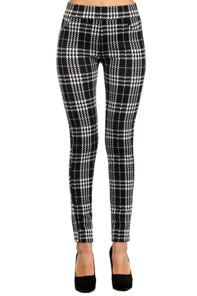 Shop Ashley Stewart for these timeless plus size pull on ankle skinny pants w/ a comfy, easy elastic waist + classic, smart, stylish windowpane plaid print.