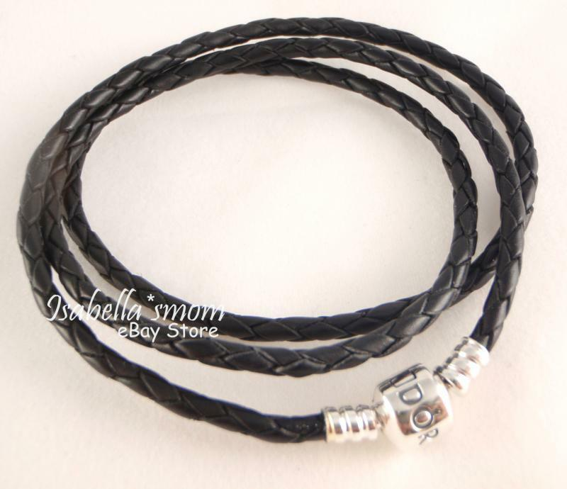 Jewelry Stores That Sell Pandora Bracelets: NEW Authentic PANDORA Charms BLACK Leather/Silver TRIPLE
