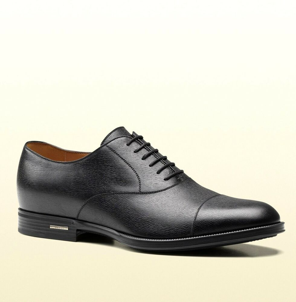 New Authentic Gucci Mens Black Leather Dress Shoes Oxford ...