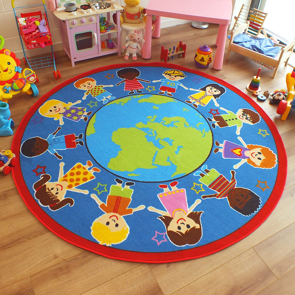 Superb bright kids childs rug children of the world for Round rugs for kids