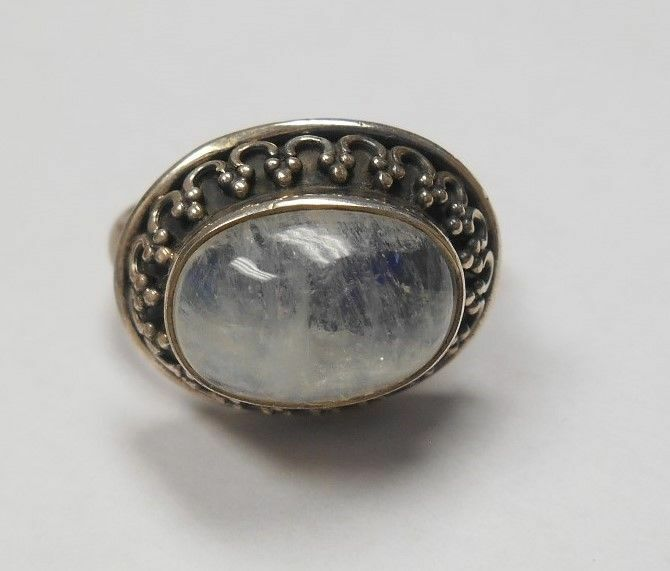 STERLING SILVER MOONSTONE RING W/ BLUE REFLECTION MARKED ...