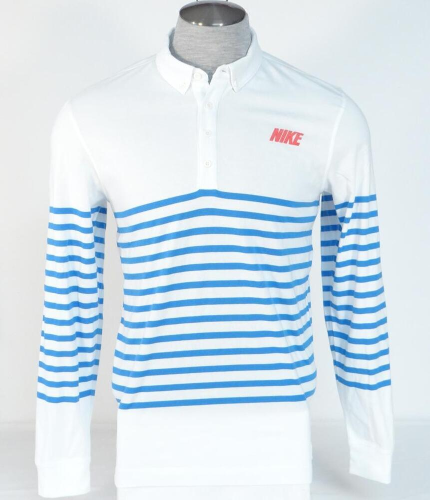 Nike golf sport dri fit slim fit white blue long sleeve for Slim fit golf shirts