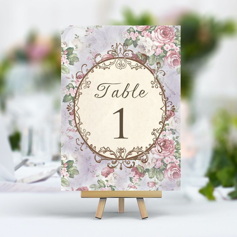 Vintage Style Wedding Table Numbers Names Cards -Shabby