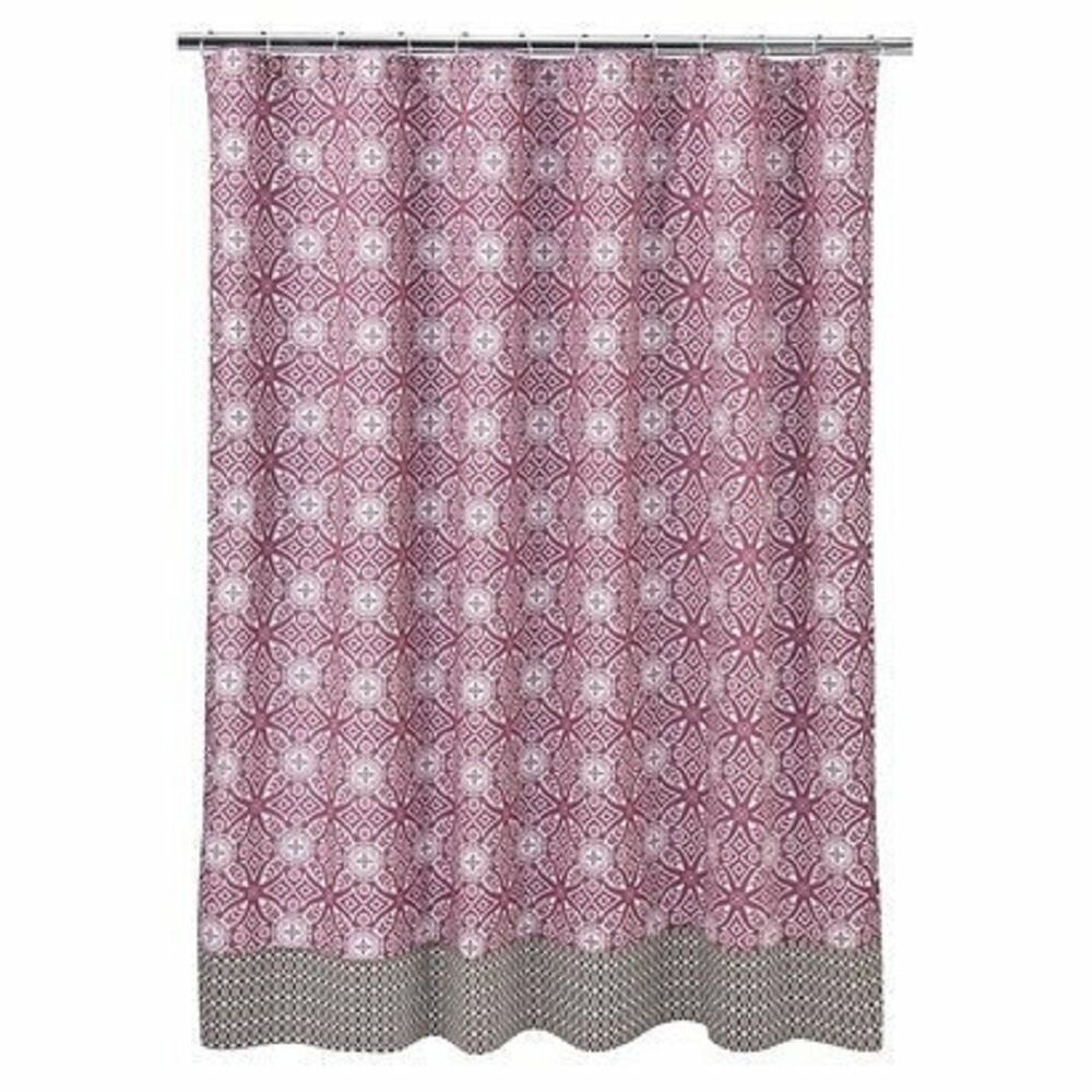 Collection fabric shower curtain pink brown white geometric ebay