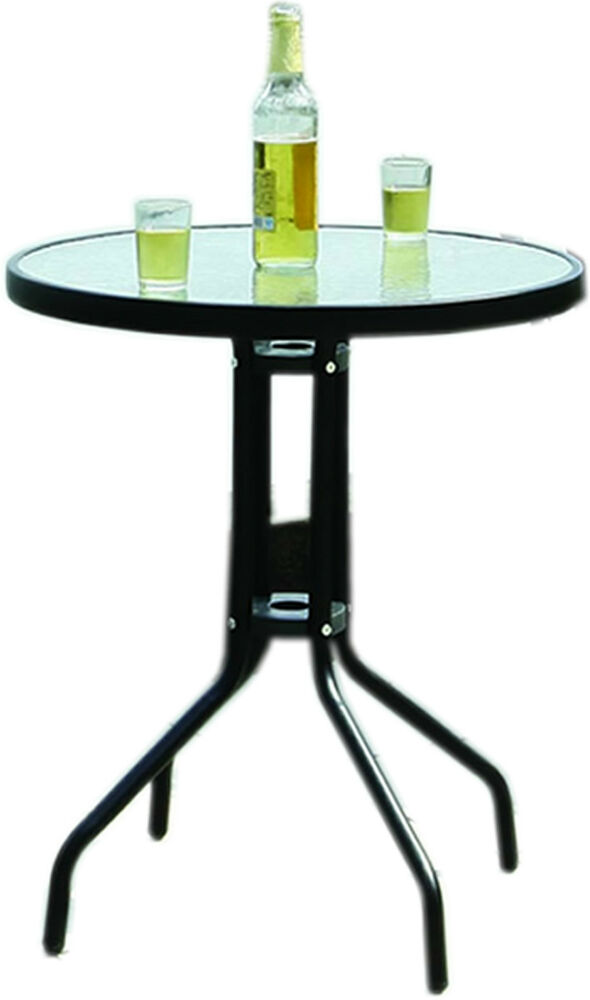 Outdoor Decorative Thick Glass Top Table With Metal Frame Legs Freestanding N
