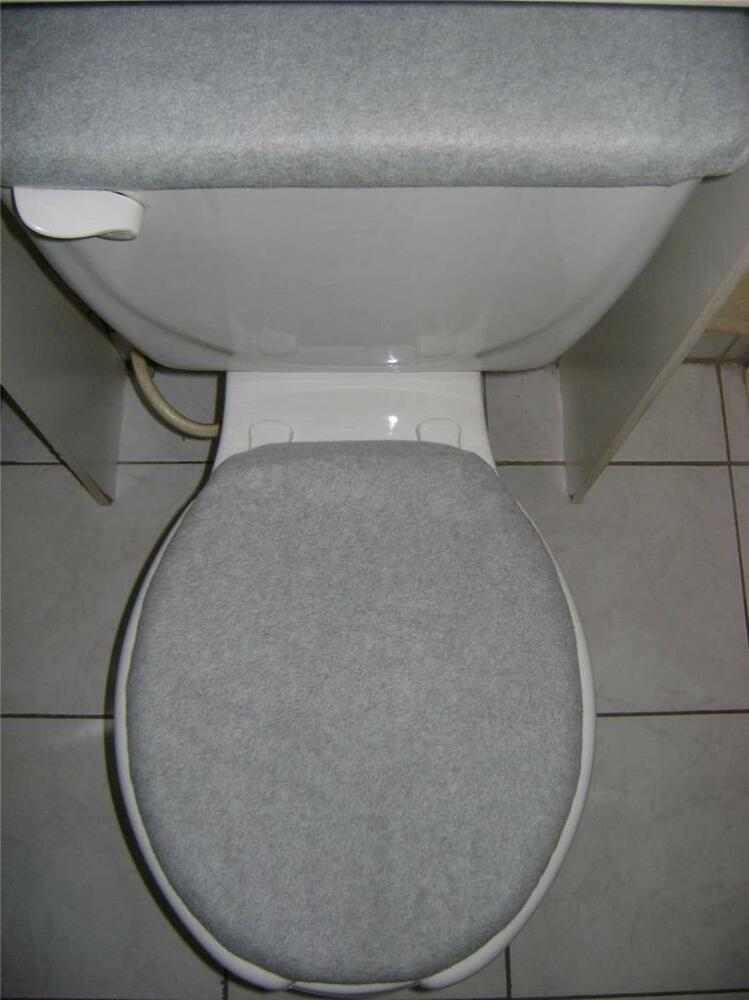 Solid Light Gray Fleece Fabric Elongated Toilet Seat Cover