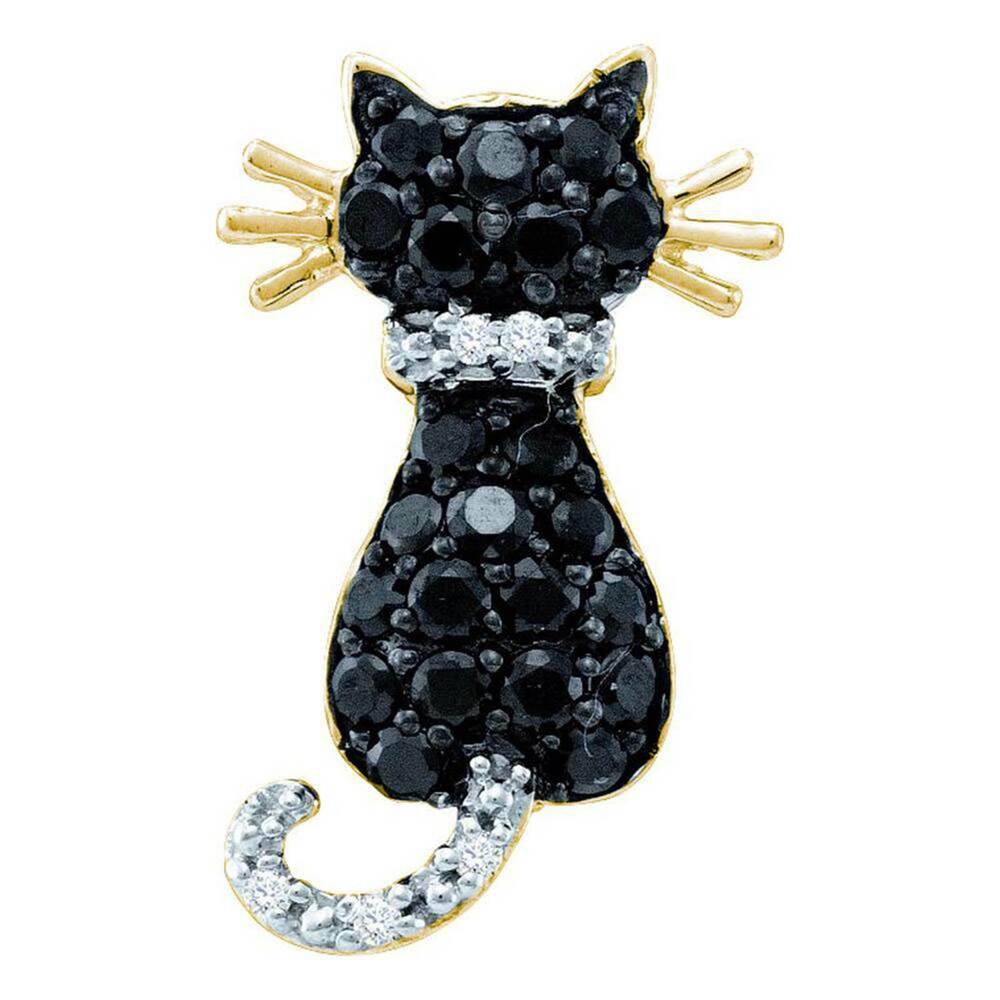 Black And White Diamond Cat Pendant