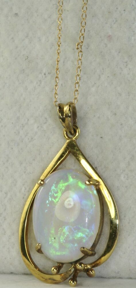 Gorgeous Vintage 14k Gold Large Opal Necklace Ebay