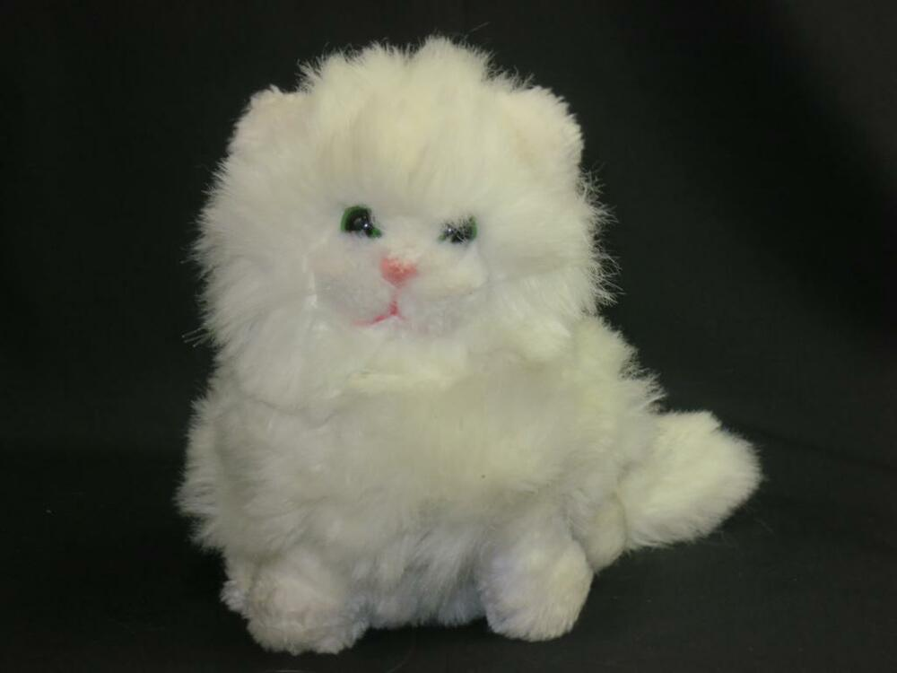 VINTAGE 1983 WHITE PERSIAN KITTY CAT DAKIN GREEN EYES ...