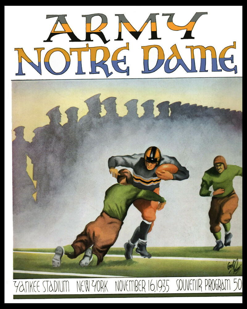 Notre Dame - Army Poster of Game Program Cover (1934 ...