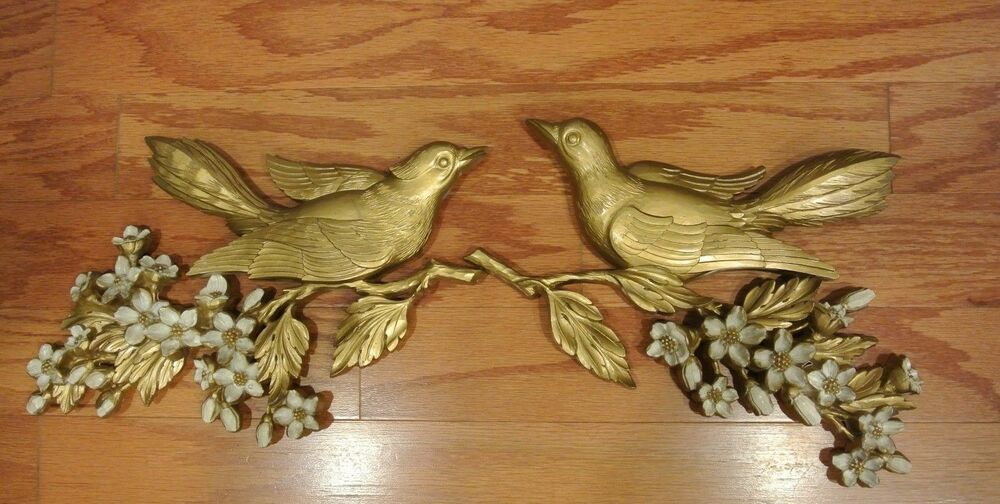 2 Piece Vintage 1960 S Syroco Gold Wood Wall Art Plaques