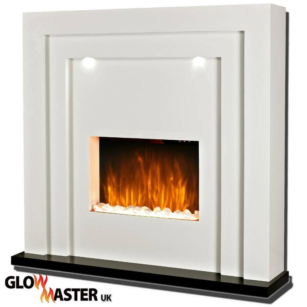 Free standing designer electric fire fireplace white mdf Free standing fireplace