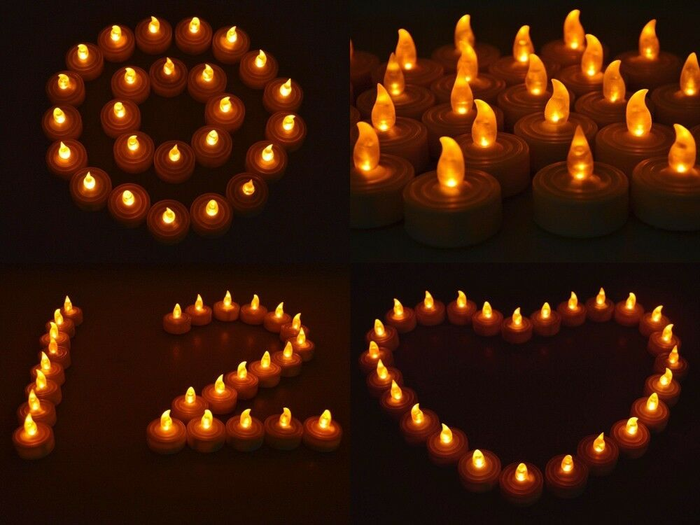50 Flickering Light Flameless Led Tea Light Wedding Party Home Decor Tea Candle Ebay
