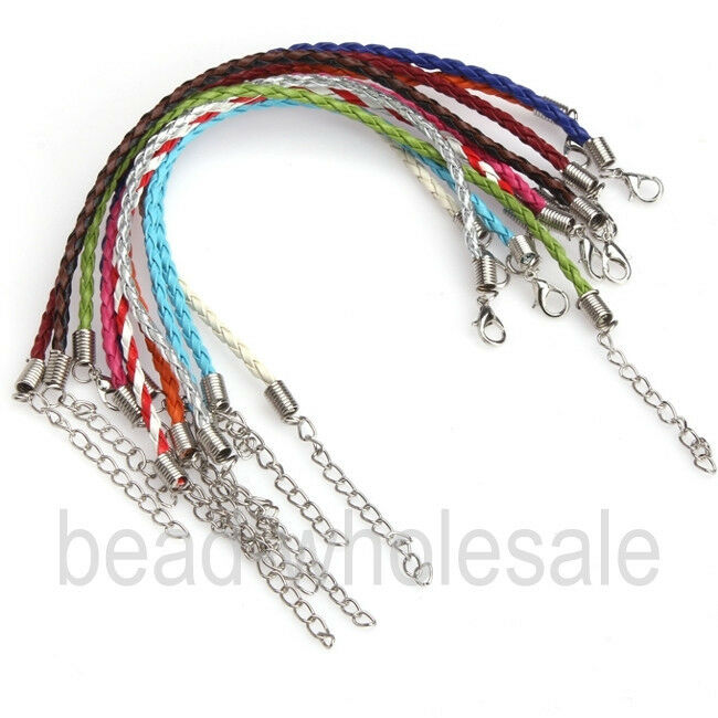 10 100pcs man made leather cord braid rope bracelet for
