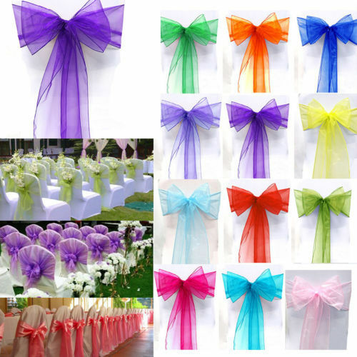 1pcs Organza Chair Cover Sash Bow Wedding Party Reception