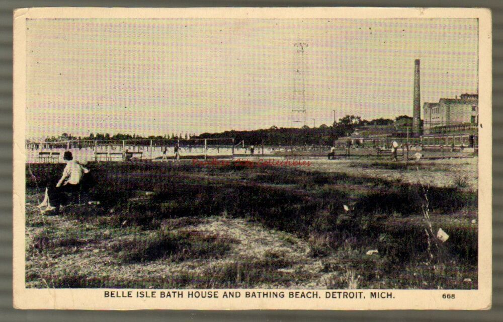 Vintage postcard belle isle bath house bathing beach for Bath house michigan