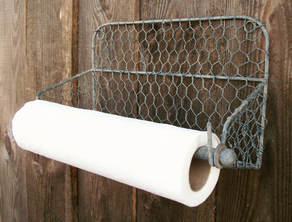 wall mount chicken wire paper towel holder towel rack country primitive home new ebay. Black Bedroom Furniture Sets. Home Design Ideas