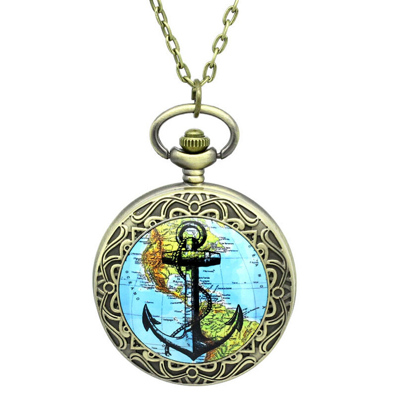 Pocket Watch Necklace Map Anchor Antiqued Steampunk ...