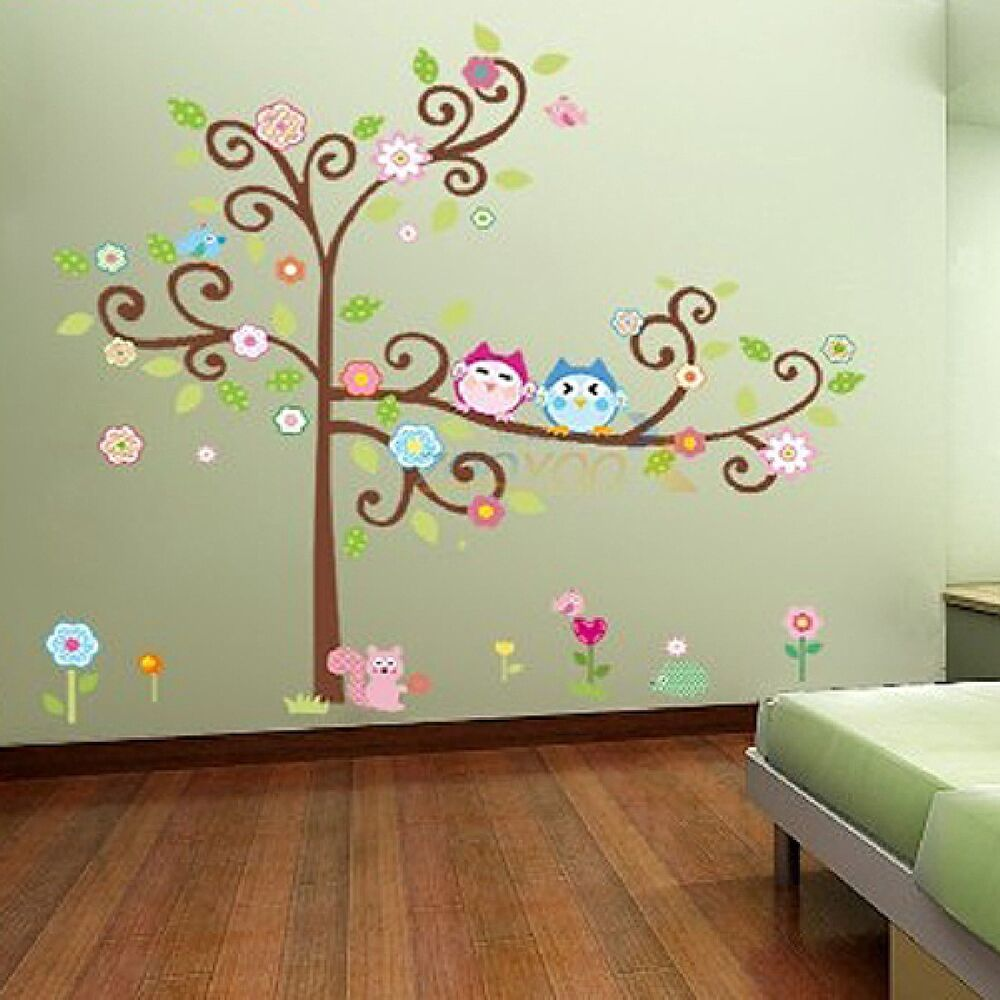 owl tree removable wall sticker mural decal art diy home room decor vinyl ebay. Black Bedroom Furniture Sets. Home Design Ideas