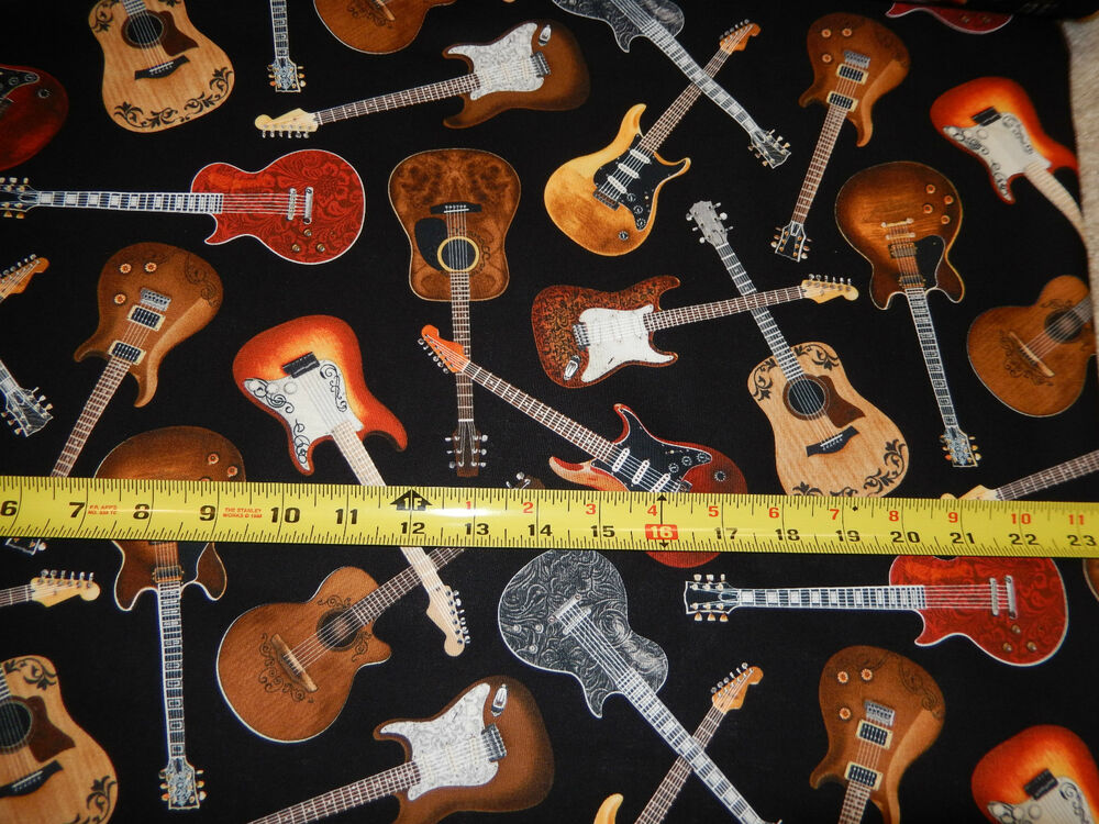 guitar guitars electric acoustic music instrument sound c1611 ttcotton fabric ebay. Black Bedroom Furniture Sets. Home Design Ideas