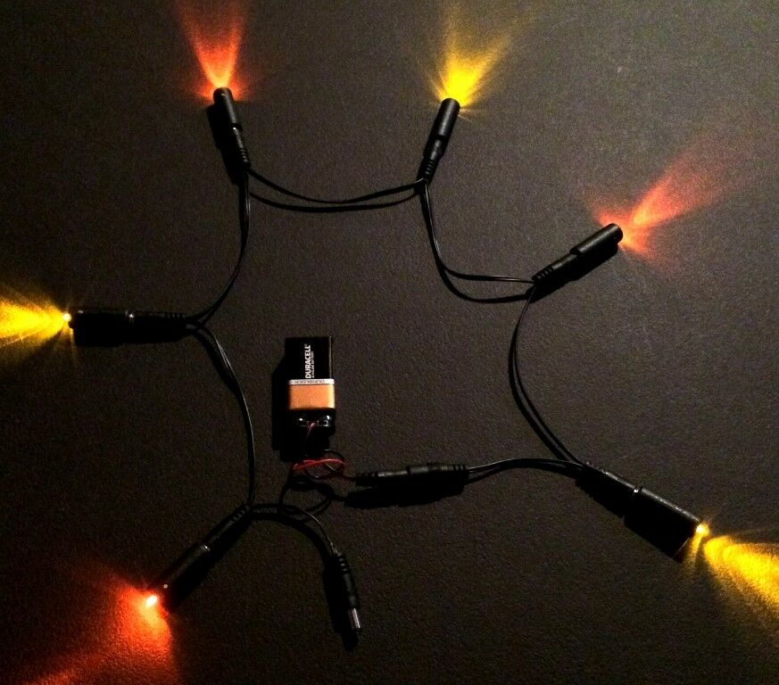 6 LED Effects Lights Daisy Chain 3 Sunset Amber 3 Pure