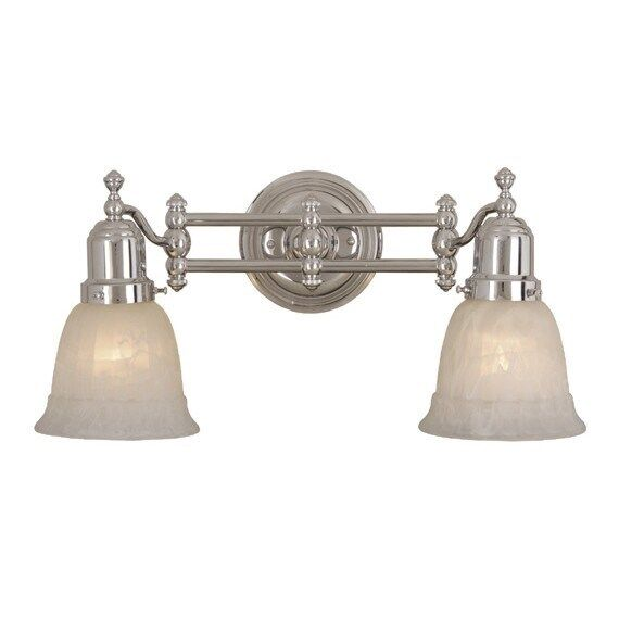 New 2 Light Bathroom Vanity Lighting Fixture Chrome Alabaster Glass Ebay