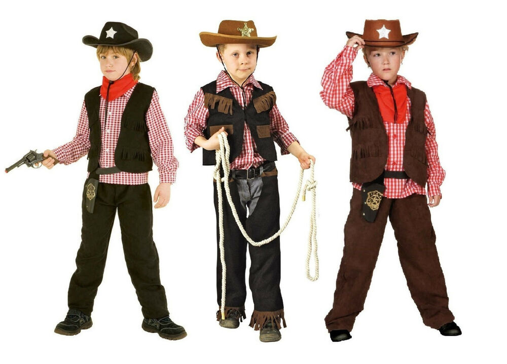 cowboykost m cowboy weste wilder westen western kost m junge kinder indianer hut ebay. Black Bedroom Furniture Sets. Home Design Ideas