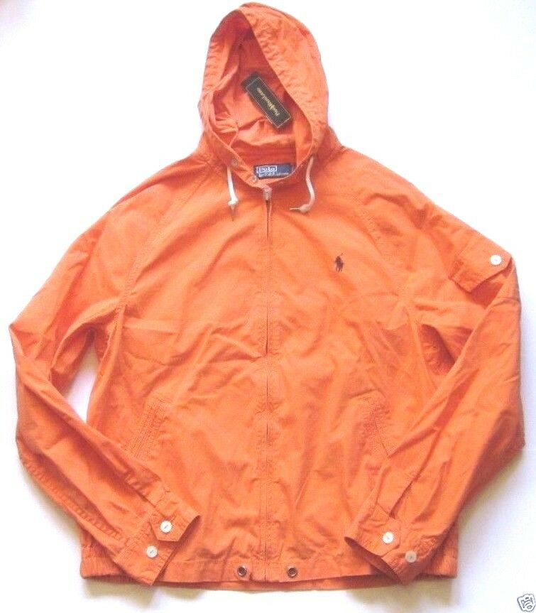 Polo Ralph Lauren Mens Full Zip Orange Windbreaker Cotton Blend
