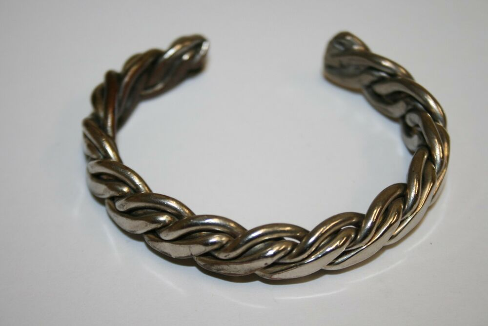 Copper Braided Rope : Vintage handmade braided rope style unisex silver plated