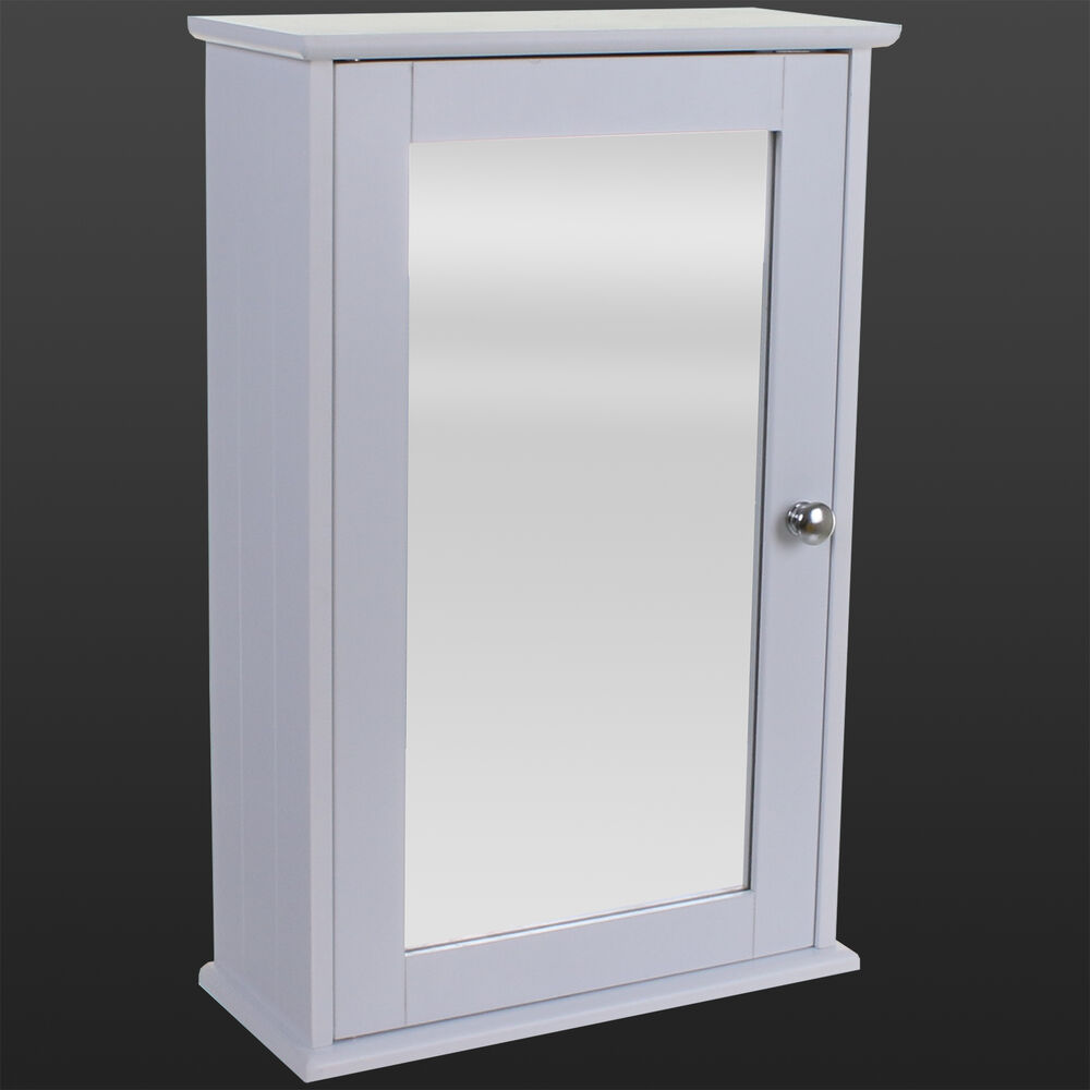 white bathroom wall cabinet single mirror door wooden cupboard