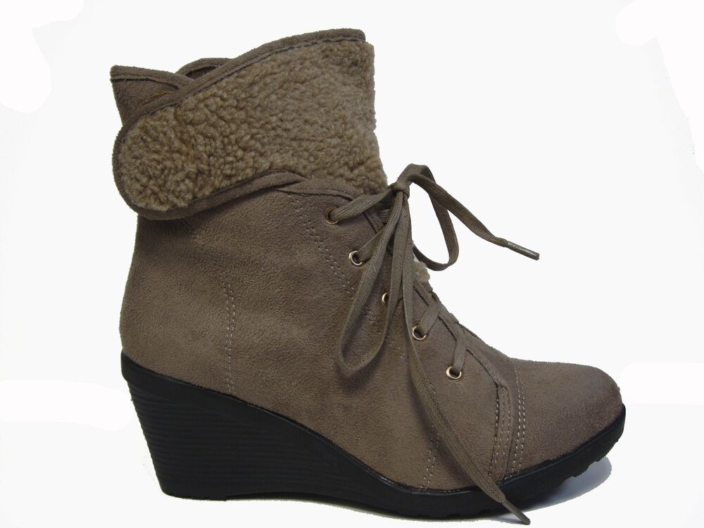 brown taupe suede wedge fur lace up ankle work boots