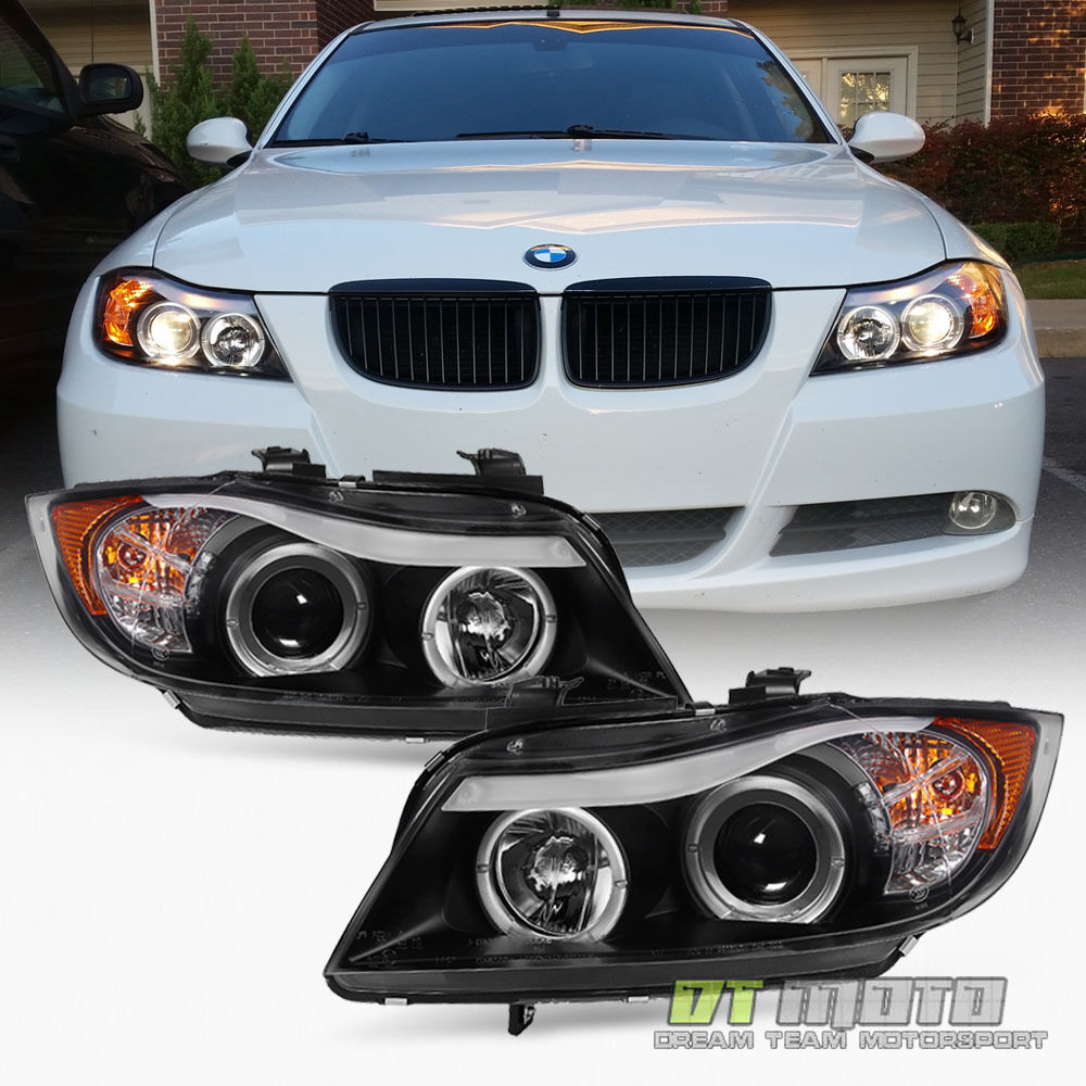 Blk 2006 2007 2008 BMW E90 3-Series Sedan LED Eye Lid Halo