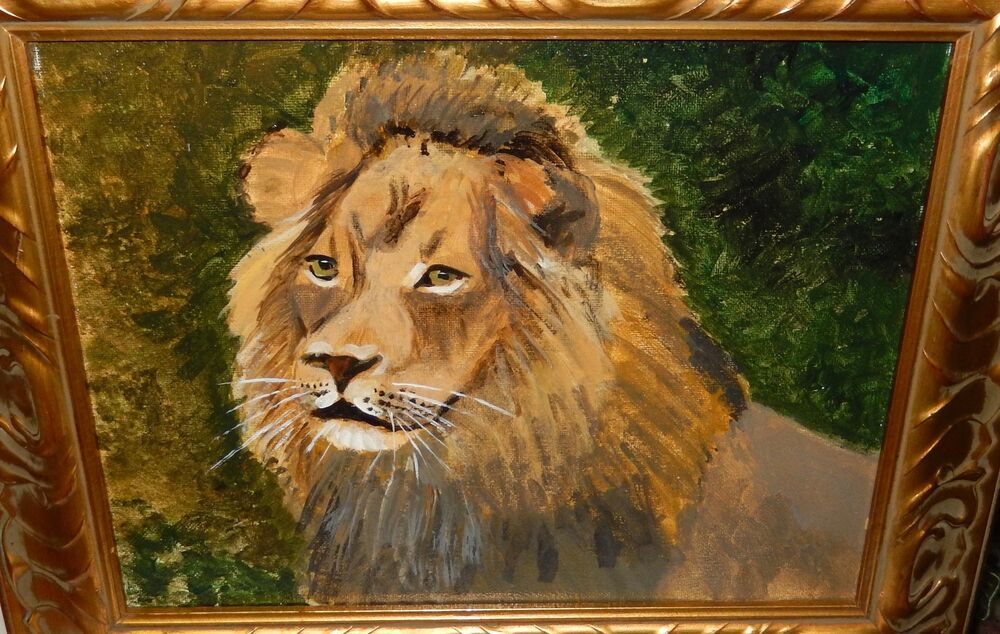 ORIGINAL OIL ON CANVAS LION PAINTING UNSIGNED | eBay