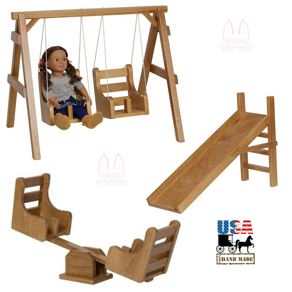Complete 18 Quot Doll Playground Swing See Saw Slide Amish