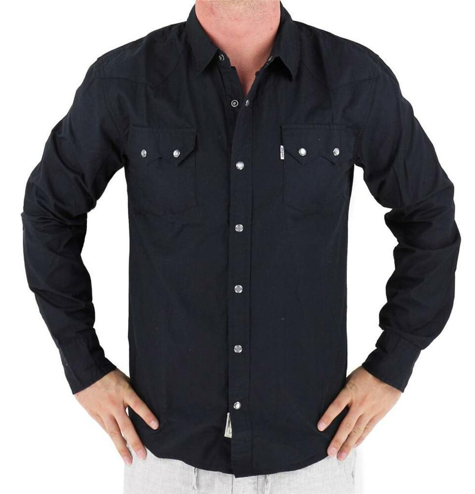 NEW LEVIS MENS CLASSIC LONG SLEEVE BUTTON UP SHIRT BLACK 3LDLW0921 SIZE XL