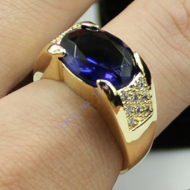 Size 9 10 11 Nice Jewelry Mens Sapphire 10kt Yellow Gold