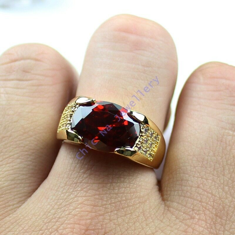 Garnet Ring Bands: Size 9,10,11 NICE Jewelry Mens Red Garnet 10KT Yellow Gold