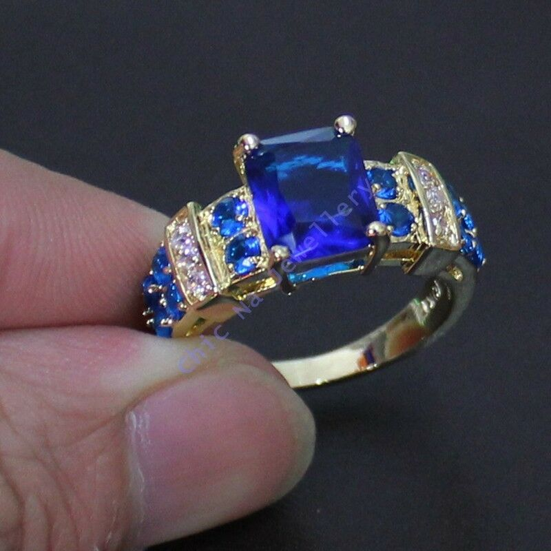 Size 8 12 Deluxe Jewelry Mens Blue Tanzanite Yellow Gold