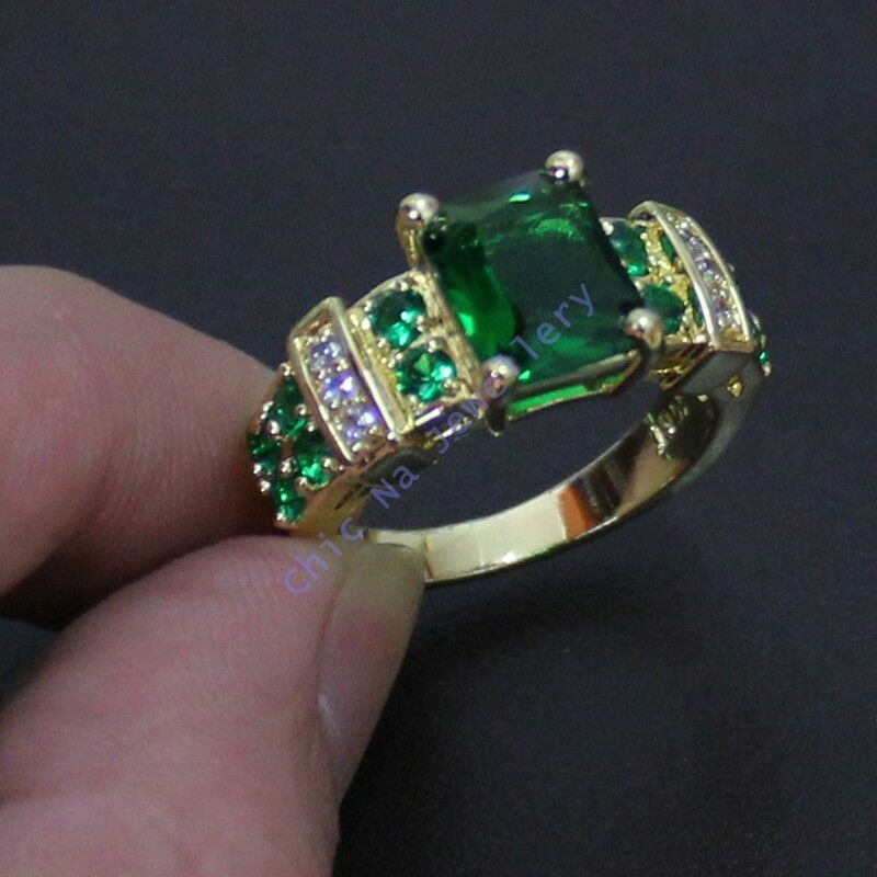 size 8 12 deluxe jewelry mens green emerald yellow gold. Black Bedroom Furniture Sets. Home Design Ideas