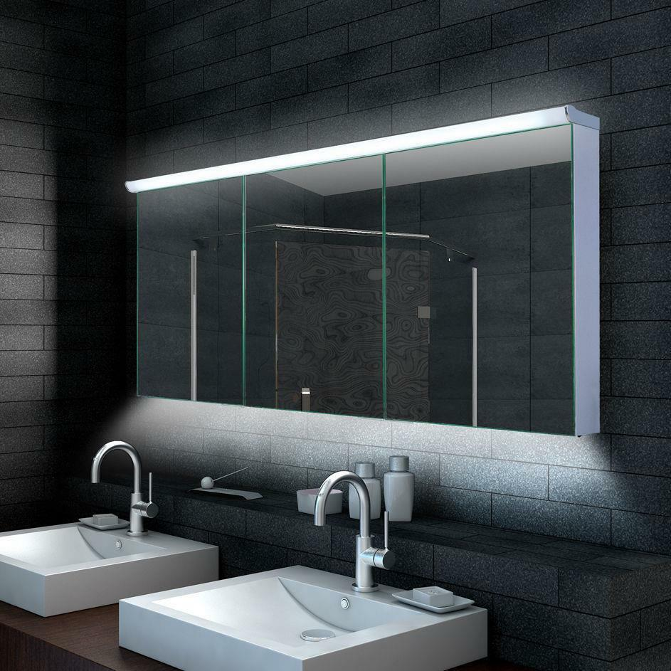 lux aqua design badezimmer spiegelschrank mit led beleuchtung 120 160cm lmc70 ebay. Black Bedroom Furniture Sets. Home Design Ideas