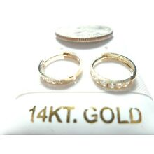 10 or 14k Pure White/Yellow SOLID GOLD 10MM / 11MM Baby/Child CZ Huggie Earrings