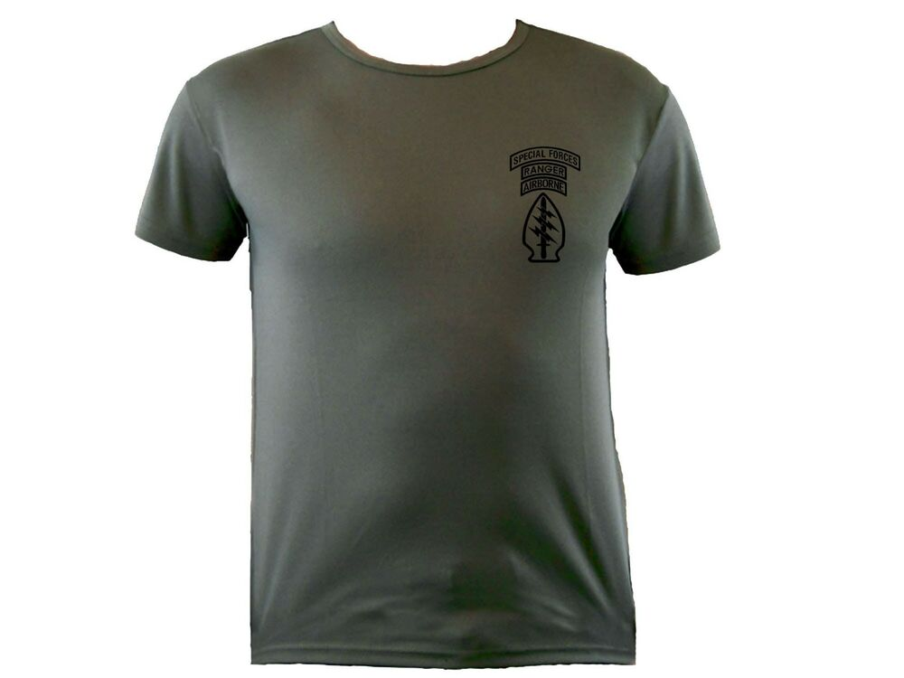 Us special forces rangers airborne od green sweat for Sweat free t shirts