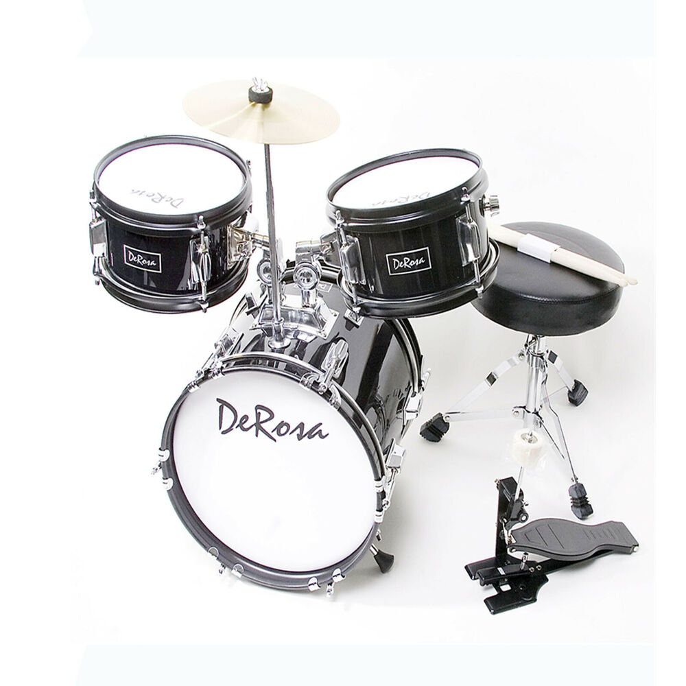 3 pc 12 black starter drum set kid music class band perfect gift for 2 5yr olds ebay. Black Bedroom Furniture Sets. Home Design Ideas