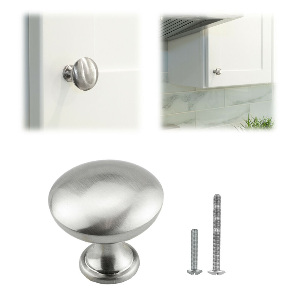 Mushroom Brushed Satin Nickel Kitchen Cabinet Knob Pull Hardware Closet Cupboard