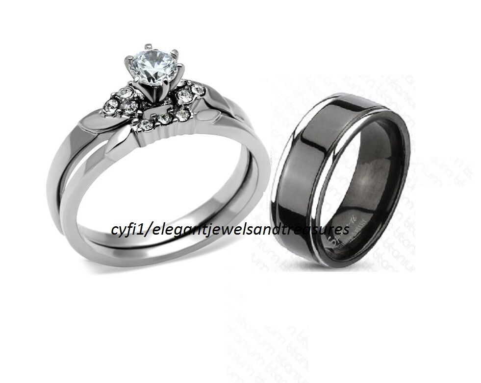 titanium stainless steel his hers cz engagement wedding band ring set