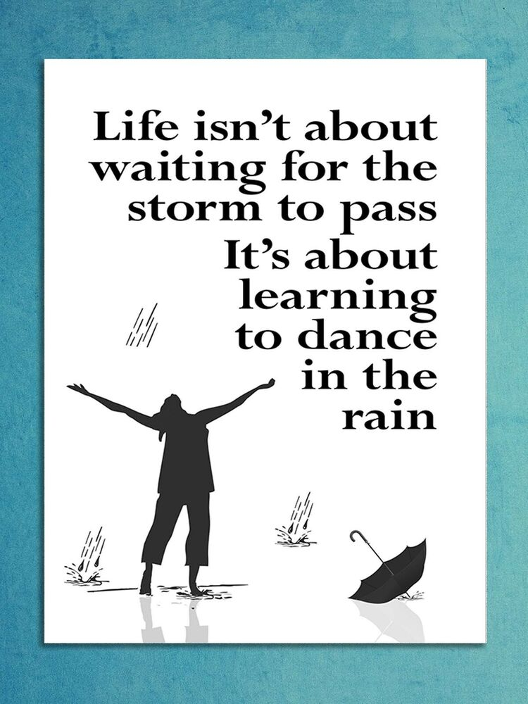 Wall Art Quotes Dance In The Rain : Metal sign inspirational dance in the rain quote metallic