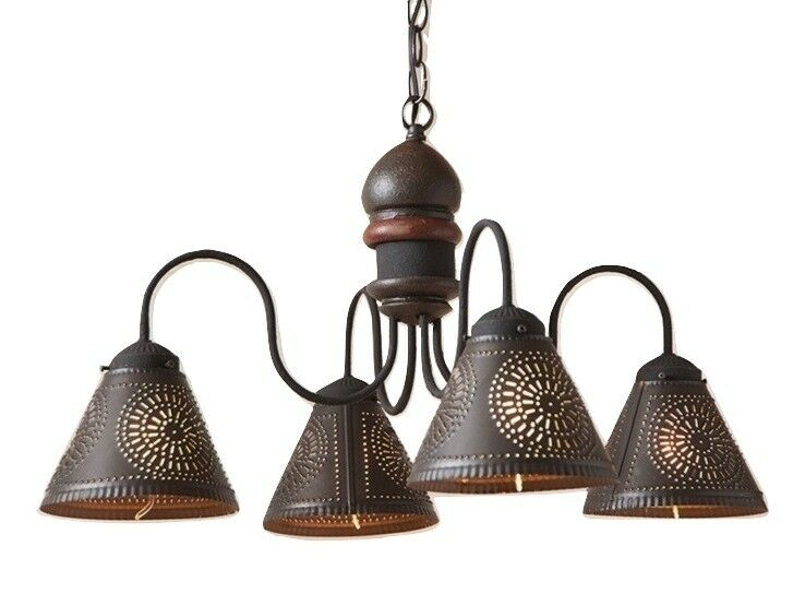 Vanity Light Wood Metal With Punched Tin Lamp Shades: WOOD & PUNCHED TIN CHANDELIER Primitive Country Kitchen