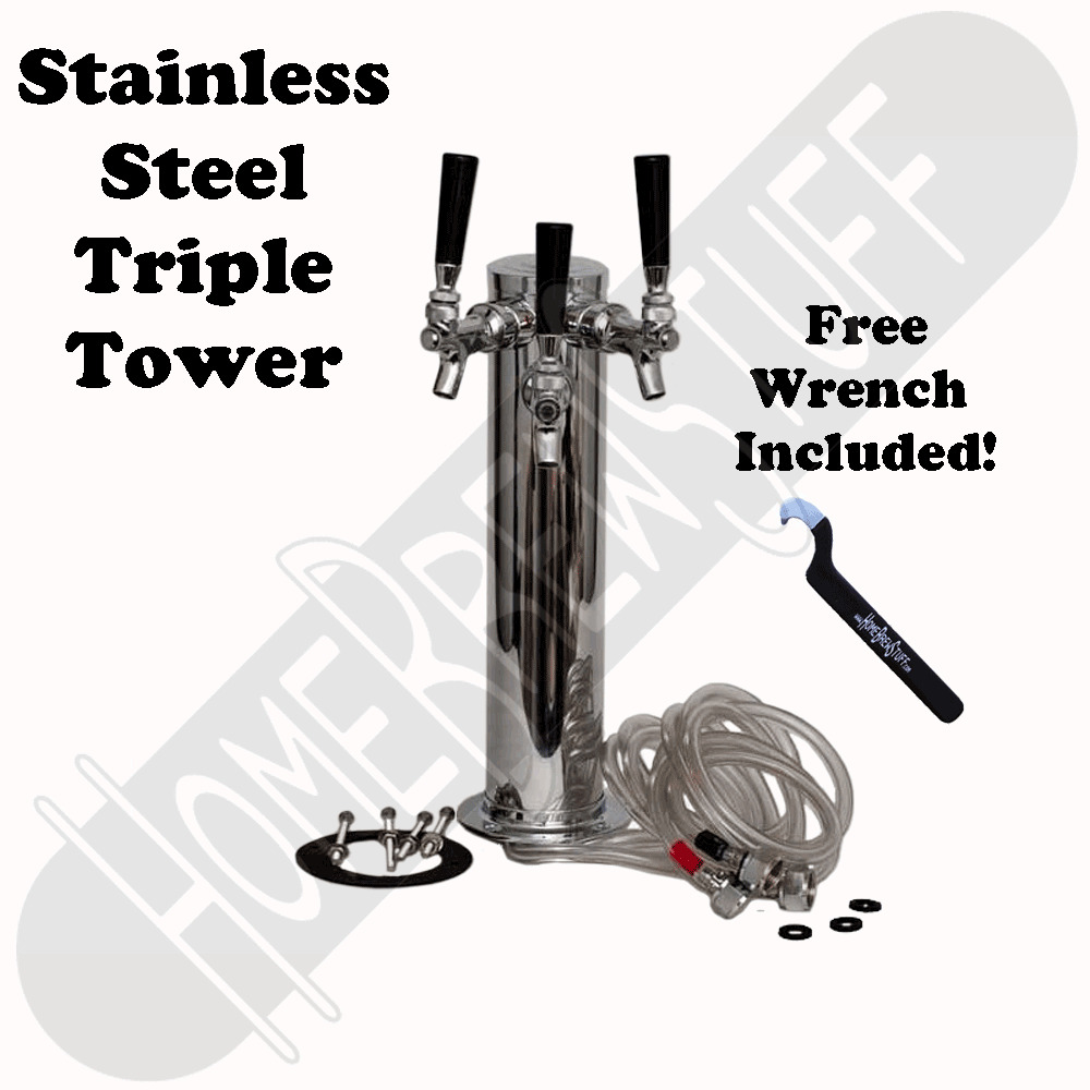 Stainless Steel Towers : Triple tap faucet stainless steel draft beer tower