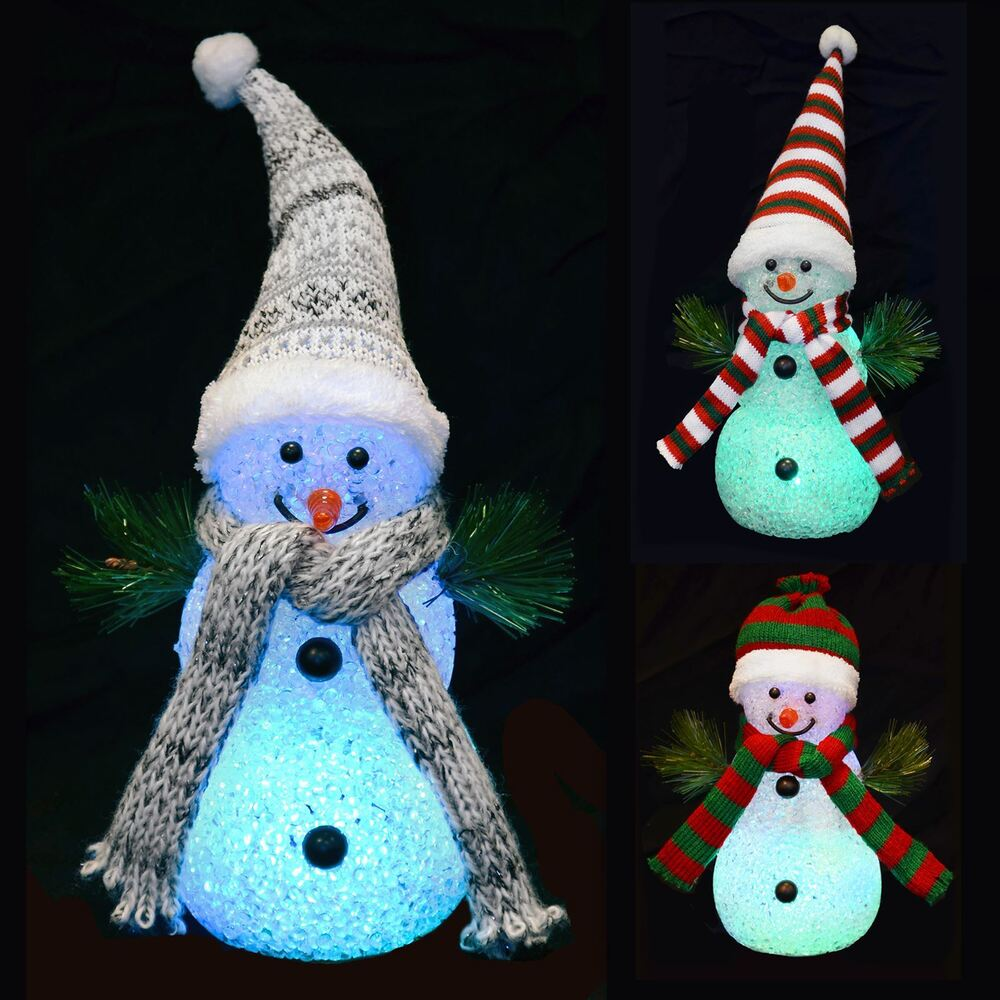 18cm light up snowman colour changing multi led christmas for Led christmas decorations
